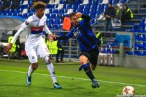 Willem Geubbels and Leonardo Spinazzola during the Europa League match between Atalanta Bergame and Lyon on December 7 2017