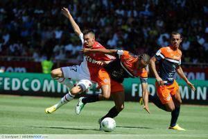 Yannick Carrasco / Daniel Congre (faute et expulsion de Daniel Congre) - 18.08.2013 - Monaco / Montpellier - 2eme journee de Ligue 1 -