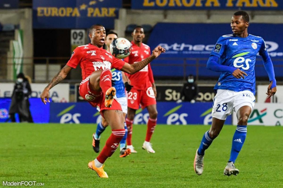 Jean Lucas, le milieu de terrain brésilien de l'OL, ici sous les couleurs du Stade Brestois 29.